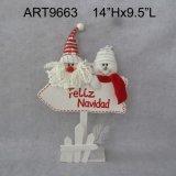 """9 """"H Santa y muñeco de nieve Navidad Gift Basket"""