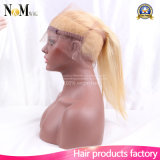 Gerade 613 Blondine-Jungfrau-Haar-vor gerupftes Ohr Spitze-Stirnbein-dem Schliessen zu des Ohr-360