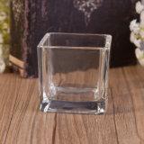 De vierkante Kruik van de Kaars van het Glas met het Deksel van het Metaal en Gebemerkte Kaars