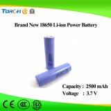 Batteria ricaricabile brandnew dello Li-ione 18650 di alta qualità brandnew 2500mAh 3.7V