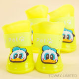 Waterproof PVC Rubber Dog Boot Anti Skid Cartoon Pet Rain Shoes