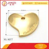 Modifica Pendant del metallo del cuore di figura di marchio su ordinazione del metallo di piastra metallica per gli accessori della borsa