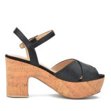 Сандалии платформы пробочки женщин высоких пяток повелительницы кожаный ботинок вскользь