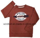 Pullover stampato del sudore di colore rosso della ruggine per il ragazzo con la lavata dell'indumento
