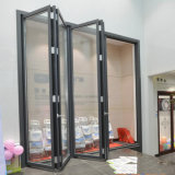 Puertas de acordión de bambú de desplazamiento baratas con el vidrio del espejo