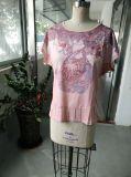 여름 사랑스러운 분홍색 우연한 Women t-셔츠 옷