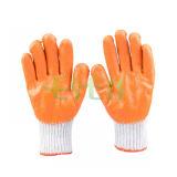 Venta caliente Guantes de jardinería de buena calidad de agarre de la seguridad palma recubierta de látex guante de trabajo de algodón (D14-H1)