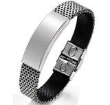 Bijou fabriqué à la main Pulseira Masculina de bracelets de femmes et d'hommes de mode de boucle de bracelet de cuir véritable d'acier inoxydable de mode