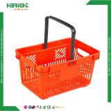 Cesta de compra plástica da mão do supermercado barato