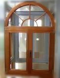 Disegno di alluminio della finestra del ferro della finestra della stoffa per tendine di stampa di legno di trasferimento incurvato parte superiore