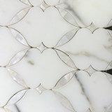 Mosaico Waterjet blanco estupendo de Backsplash, azulejo de mosaico de la cocina