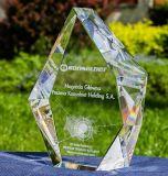 De Ambachten van het Glas van het Kristal van de Vorm van de diamant met 3D Druk van het Embleem van de Gravure van de Laser voor de Giften van de Herinnering