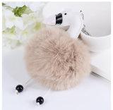 かわいく柔らかいウサギの毛皮の球の柔らかいポンポンのKeychainの毛皮POMのキーホルダー