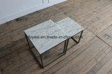 白い大理石の上のコーヒーテーブルの側面表が付いている小さい固体正方形のステンレス鋼ベース