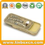 Estaño de desplazamiento de oro cosmético del bálsamo de labio del rectángulo del pequeño metal del resbalador