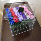 Kundenspezifischer quadratischer freier Acrylblumen-Rosen-Kasten mit Fach