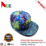 100% 모직 물자와 편평한 테두리 유형은 5개의 위원회 Flexfit 모자를 매 염색한다