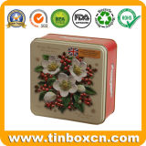 Estanho quadrado do indicador do Natal para a caixa de empacotamento do presente do bolinho do biscoito