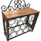 Newest Wood and Metal Wall Mounted Wine Rack with Glass Rack