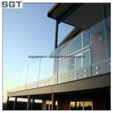 syndicat de prix ferme inférieur de verre trempé d'espace libre de fer de 6-12mm clôturant la glace de balustrade