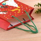 Подарка бумаги рождества изготовления Китая мешок печатание изготовленный на заказ выдвиженческого упаковывая с ручками