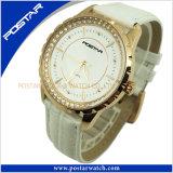 IPの金張りの宝石類の高品質のステンレス鋼の革腕時計