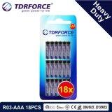 1,5 V de la Chine usine Prix de gros de la batterie au carbone-zinc (R03-AAA 18pcs)