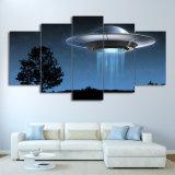 HD напечатало 5 изображений стены UFO летания вселенного искусствоа холстины части обрамленных картиной для живущий комнаты самомоднейшей