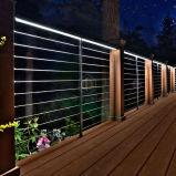 家のステアケースの階段の吹き抜けの塀のステンレス鋼の固体棒の現代的な柵