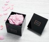 뚜껑을%s 가진 주문품 아크릴 단 하나 로즈 상자 검정 꽃 상자