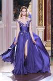 Purpur-geöffnetes Bein-Chiffon- Abend-Kleid