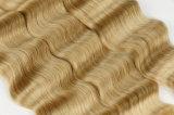 Человеческие волосы белокурого цвета волнистые сотка свободное глубокое 16inches