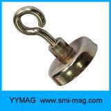 Aimant magnétique de bac de néodyme de crochet de Qulaity de cuvette élevée de support avec l'oeil à queue filetée
