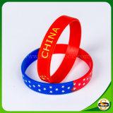 Bracelet fait sur commande de silicones de logo de silicones purs avec estampé