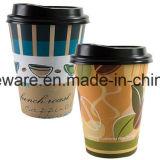 アマゾン製造者(100set/pack)のカスタムロゴ12のOzの使い捨て可能で熱いペーパーコーヒーカップ、ふた、袖、感動的なわら