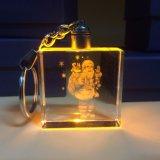 LEIDENE van de Sleutelring van mooie en Populaire 3D LEIDENE van de Laser Licht Gegraveerde Keychain van het Kristal Lichte Zeer belangrijke Ketting