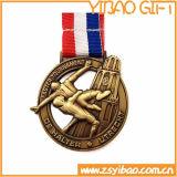Heiße Verkaufs-3D geprägte Goldmedaille mit Farbband