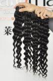 Extensões 100% profundas peruanas do cabelo humano da onda do Virgin