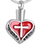 Шкентель ожерелья урны золы кремации сердца нержавеющей стали способа инкрустированный крестом каменный
