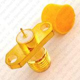 Connecteur coaxial de rf SMA Jack du connecteur femelle PTFE 2 de trou de bride de soudure d'or de support