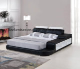 منخفضة عمق سرير إطار أسود جلد ليّنة تخزين سرير