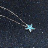 Monili Pendant opalini blu della collana della stella d'argento dello Sterling cinque della decorazione 925 (558813432754)