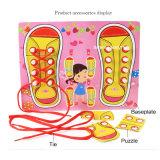 Aprender as cintas Shoelace madeira ensino precoce das crianças Montessori Board Jogo de Puzzle Toy