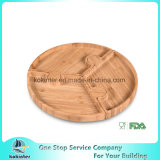 Bamboo Bulit-up Round Serving Tray Party Platters for Food gold Vegetable