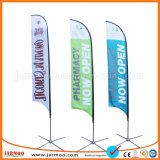 La promoción personalizada de las banderas de plumas al aire libre