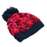 Novo Design tricô OEM Fios Fantasia Lado Knit Beanie Hat Balde de adultos