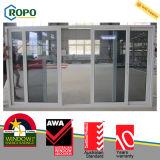 PVC 플라스틱에 의하여 이중 유리로 끼워지는 큰 유리 미닫이 문