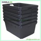 Armazenamento de trabalho pesado industrial de empilhamento de movimentação de contêiner de plástico com tampa