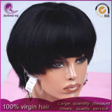 Virgen de la India el cabello humano Bobo estilo pleno encaje peluca