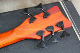 Musique de Hanhai/guitare 5-String basse électrique orange avec le bois d'ébène Fretboard
